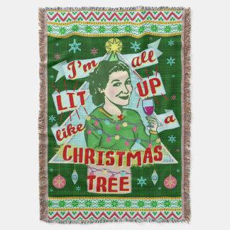 Cobertor Lit retro da mulher do humor do bebendo do Natal