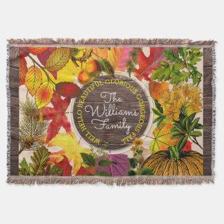 Cobertor Madeira do vintage da colagem das folhas de outono