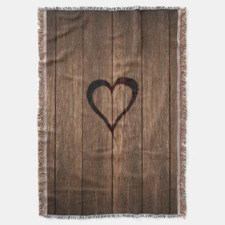 Cobertor Madeira rústica impressão queimado do coração