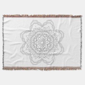 Cobertor Mandala da flor. Elementos decorativos do vintage.