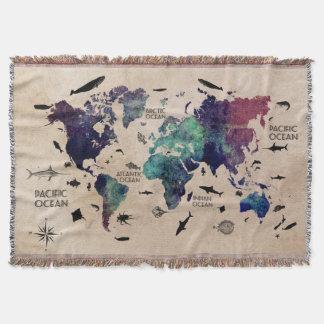 Cobertor mapa do mundo do oceano