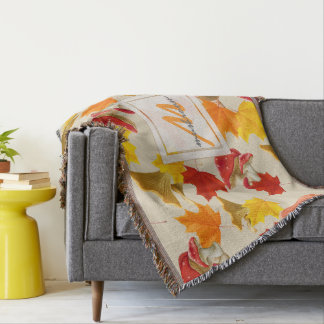 Cobertor Monograma colorido das folhas e dos cogumelos de