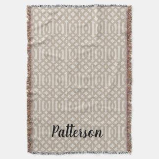 Cobertor Monograma de linho bege da treliça da casa da