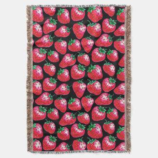 Cobertor Morango vermelha no fundo preto