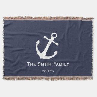 Cobertor Nome de família feito sob encomenda e náutico azul