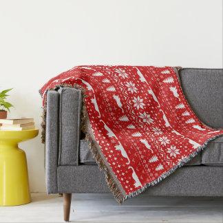Cobertor O gato mostra em silhueta o teste padrão do estilo