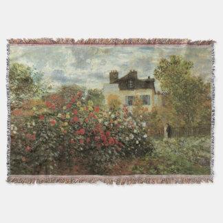 Cobertor O jardim de Monet em Argenteuil por Claude Monet