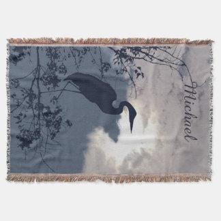 Cobertor Observação de pássaros azul do por do sol da