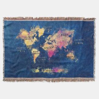 Cobertor OCEANOS e continentes do mapa do mundo