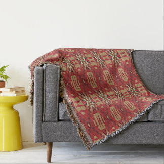 Cobertor Olhar étnico ecléctico alaranjado bege vermelho