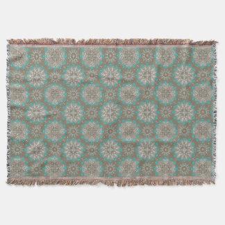 Cobertor Ornamento de turquesa e de cinzas e de White