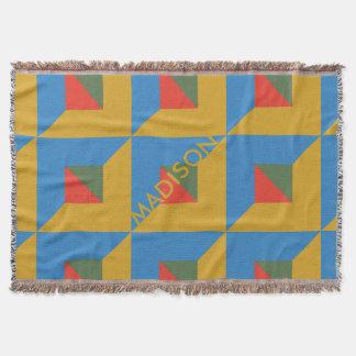 Cobertor Outono geométrico do monograma do bloco da cor da