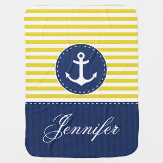 Cobertor Para Bebe Âncora azul branca amarela com nome personalizado