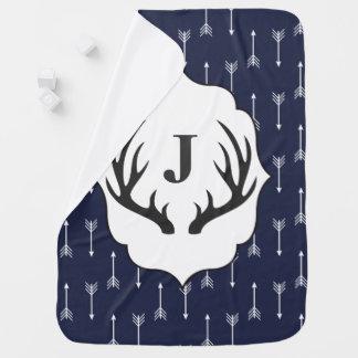 Cobertor Para Bebe Antlers cinzentos rústicos modernos & inicial do