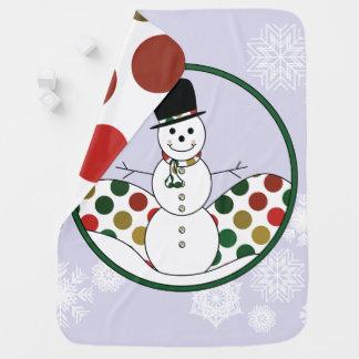 Cobertor Para Bebe Arte de Polkadot do boneco de neve do Natal com