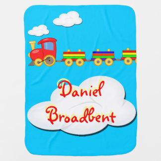 Cobertor Para Bebe azul customizável da cobertura do bebê do trem do