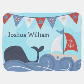 Cobertor Para Bebe Baleia náutica personalizada do oceano da praia do