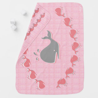 Cobertor Para Bebe Baleias no rosa