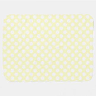Cobertor Para Bebe Bolinhas amarelos pálido e brancas