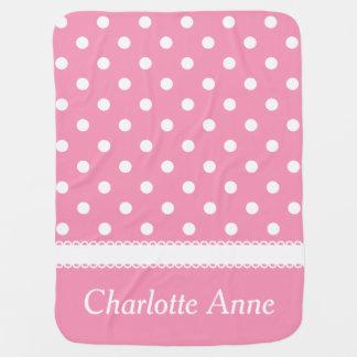 Cobertor Para Bebe Bolinhas cor-de-rosa e brancas felizes