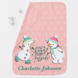 Cobertor Para Bebe Bonecos de neve personalizados bonitos do feriado