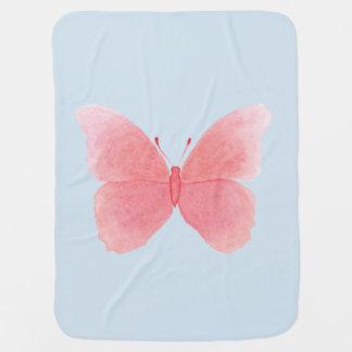 Cobertor Para Bebe Borboleta cor-de-rosa da aguarela