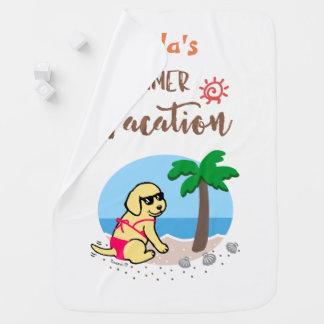 Cobertor Para Bebe Cobertura amarela das férias de verão da menina de