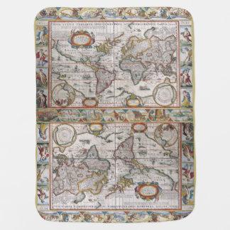 Cobertor Para Bebe Cobertura antiga do bebê do mapa do mundo