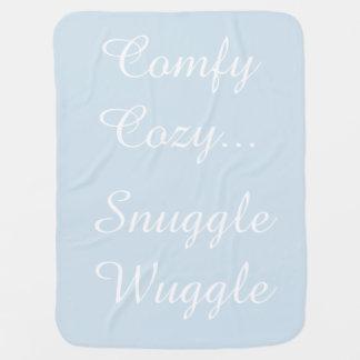 Cobertor Para Bebe Cobertura azul de prata do Reversible do chocalho