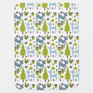 Cobertor Para Bebe Cobertura azul do bebê dos cervos