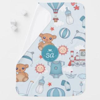 Cobertor Para Bebe Cobertura azul Monogrammed do bebê do impressão do
