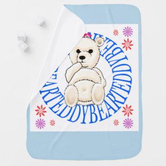 Cobertor Para Bebe Cobertura branca pálida do lance do urso de
