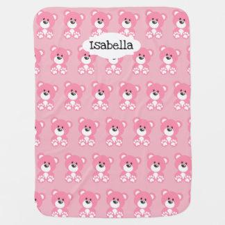 Cobertor Para Bebe Cobertura cor-de-rosa do bebê do urso de ursinho