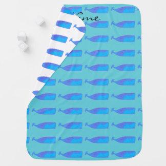 Cobertor Para Bebe cobertura do bebê das baleias azuis