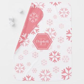 Cobertor Para Bebe Cobertura do bebê do floco de neve do monograma
