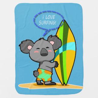 Cobertor Para Bebe Cobertura do bebê do urso de Koala do surf