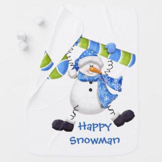 Cobertor Para Bebe Cobertura do bebê verde e azul do boneco de neve