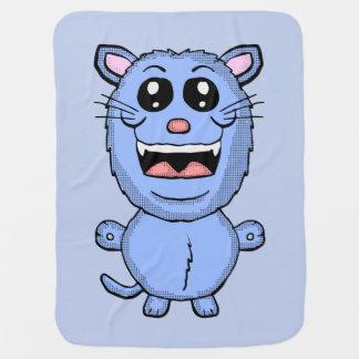Cobertor Para Bebe Cobertura engraçada do gato azul dos desenhos