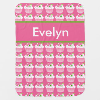 Cobertor Para Bebe Cobertura personalizada do cupcake de Evelyn