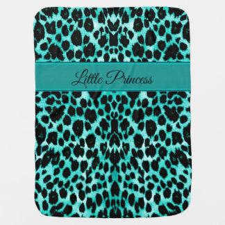 Cobertor Para Bebe Cobertura personalizada leopardo do verde azul da