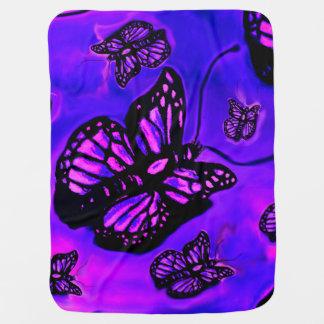 Cobertor Para Bebe Cobertura roxa e cor-de-rosa do bebê da borboleta