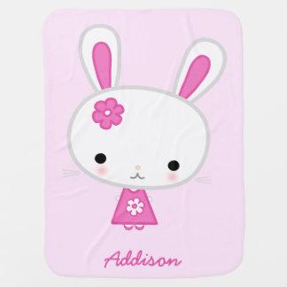 Cobertor Para Bebe Coberturas personalizadas rosa do bebê com coelho