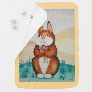 Cobertor Para Bebe coelho de coelho marrom que sorri com margaridas