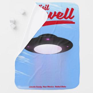 Cobertor Para Bebe Cor de poster vintage do UFO de Roswell da visita