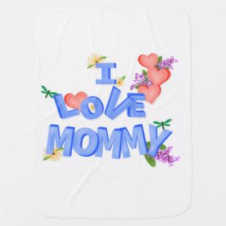 """Cobertor Para Bebe Corações e flores """"eu amo mamães """""""