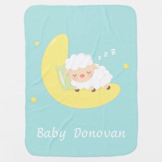 Cobertor Para Bebe Cordeiro bonito do bebê do sono na lua