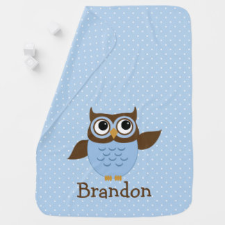Cobertor Para Bebe Coruja azul bonito cobertura personalizada do bebê
