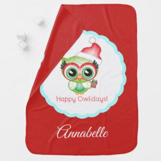 Cobertor Para Bebe Coruja feliz do feriado do chapéu do papai noel do