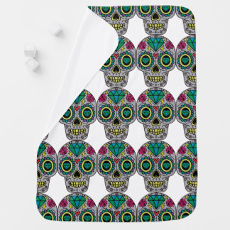 Cobertor Para Bebe Crânio colorido Funky abstrato do açúcar