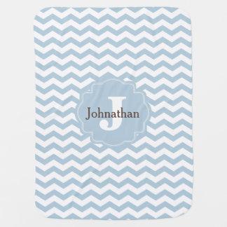 Cobertor Para Bebe Do ziguezague azul de Chevron do monograma